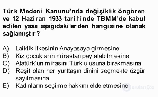 Atatürk İlkeleri ve İnkılap Tarihi II Bahar Final 27. Soru