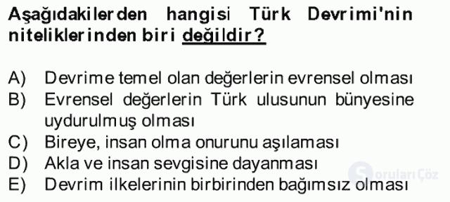 Atatürk İlkeleri ve İnkılap Tarihi II Bahar Final 29. Soru