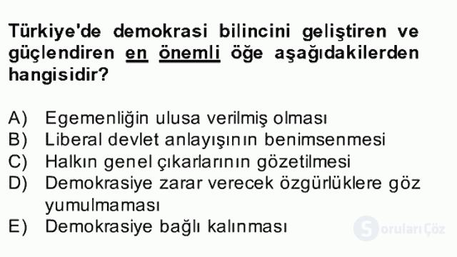 Atatürk İlkeleri ve İnkılap Tarihi II Bahar Final 30. Soru