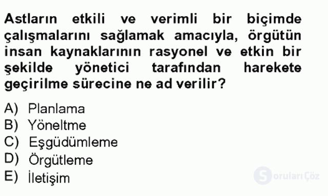 Türk Eğitim Sistemi ve Okul Yönetimi Bahar Final 16. Soru