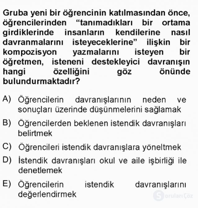 Sınıf Yönetimi Tek Ders 15. Soru