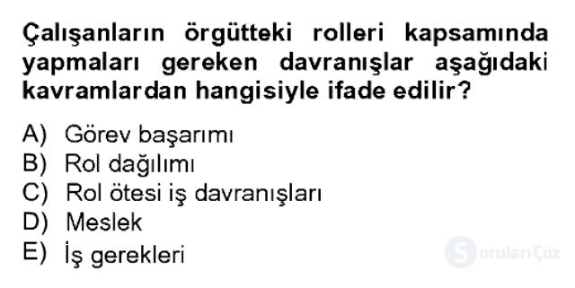 Örgütsel Davranış Bahar Dönemi Final Final 18. Soru