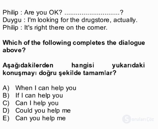 İngilizce II Bütünleme 14. Soru