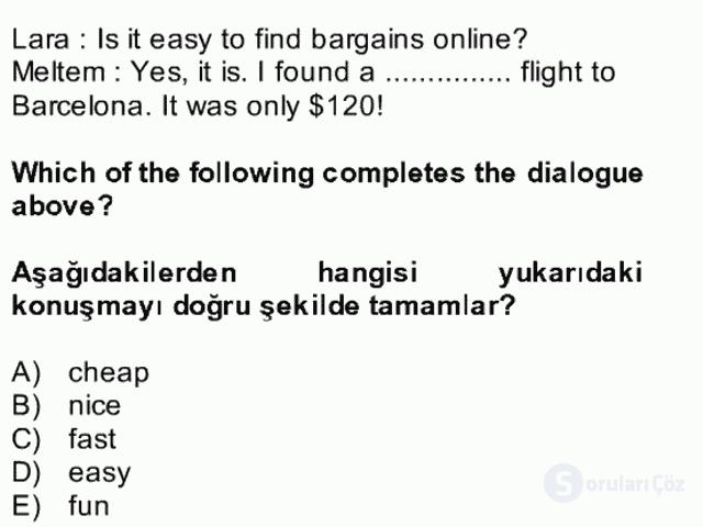 İngilizce II Bütünleme 16. Soru
