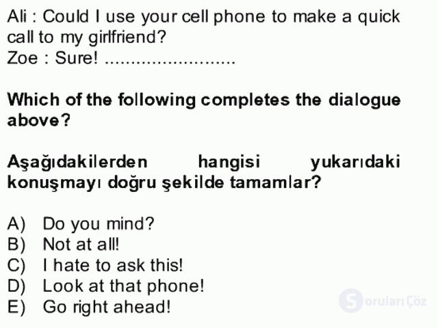İngilizce II Bütünleme 18. Soru