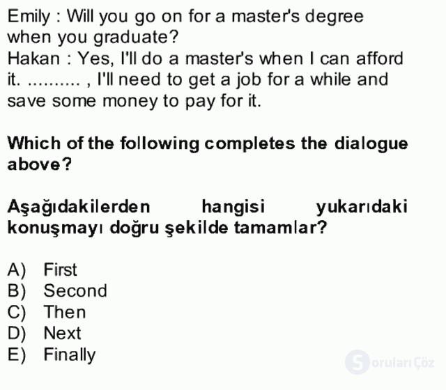 İngilizce II Bütünleme 30. Soru