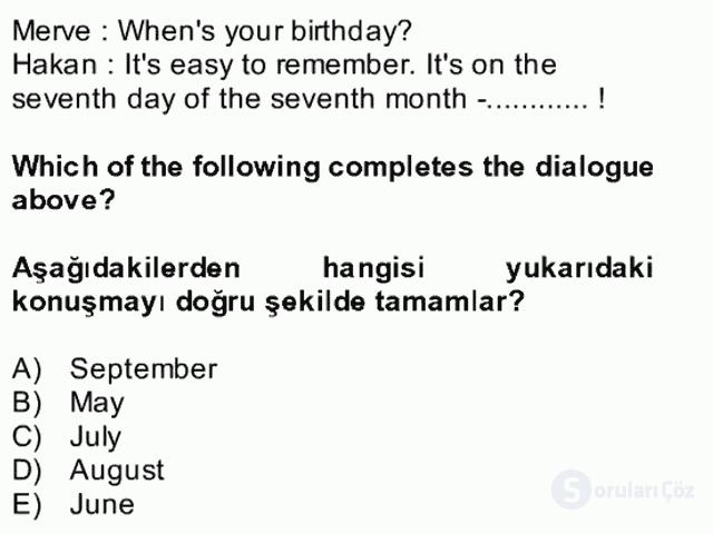 İngilizce II Bütünleme 9. Soru