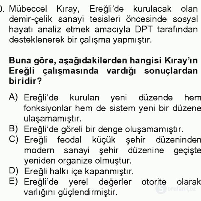 Türk Sosyologları Bahar Dönemi Final Final 10. Soru
