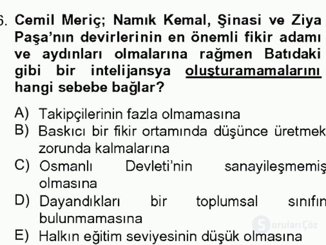 Türk Sosyologları Bahar Dönemi Final Final 16. Soru