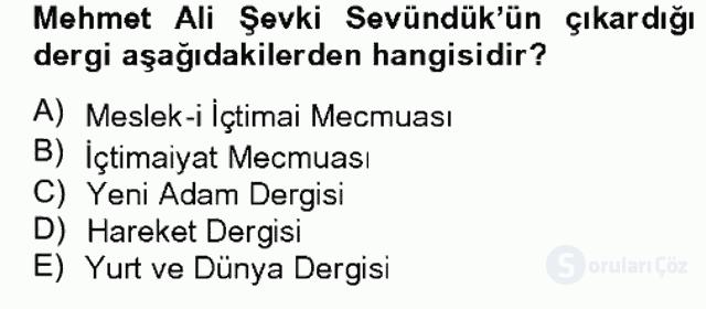 Türk Sosyologları Bahar Dönemi Final Final 3. Soru