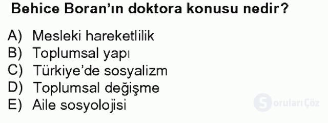 Türk Sosyologları Bahar Dönemi Final Final 5. Soru