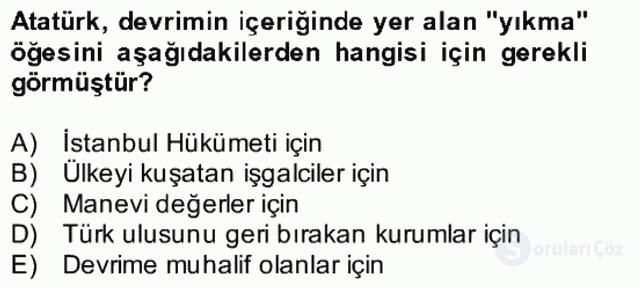 Atatürk İlkeleri ve İnkılap Tarihi II Bütünleme 11. Soru