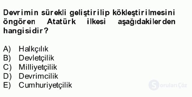 Atatürk İlkeleri ve İnkılap Tarihi II Bütünleme 14. Soru