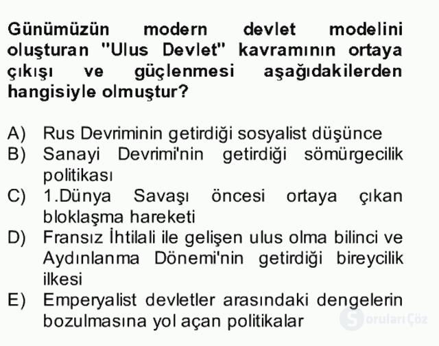 Atatürk İlkeleri ve İnkılap Tarihi II Bütünleme 18. Soru