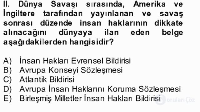 Atatürk İlkeleri ve İnkılap Tarihi II Bütünleme 20. Soru