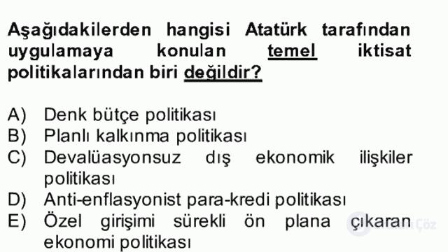 Atatürk İlkeleri ve İnkılap Tarihi II Bütünleme 26. Soru
