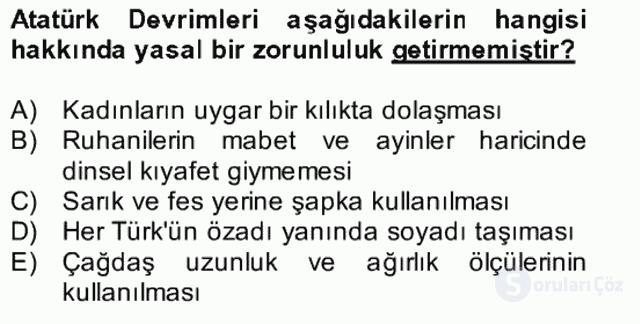 Atatürk İlkeleri ve İnkılap Tarihi II Bütünleme 27. Soru