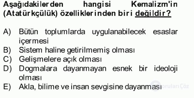 Atatürk İlkeleri ve İnkılap Tarihi II Bütünleme 30. Soru