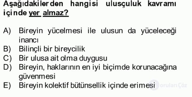Atatürk İlkeleri ve İnkılap Tarihi II Bütünleme 4. Soru