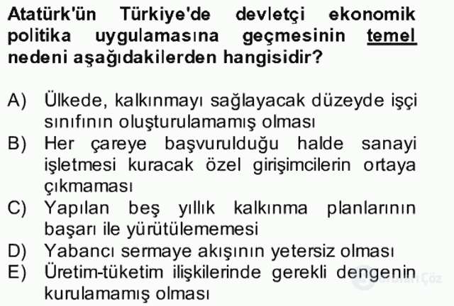 Atatürk İlkeleri ve İnkılap Tarihi II Bütünleme 6. Soru