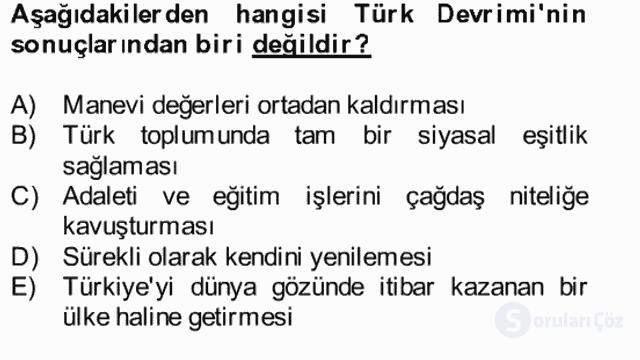 Atatürk İlkeleri ve İnkılap Tarihi II Bütünleme 9. Soru