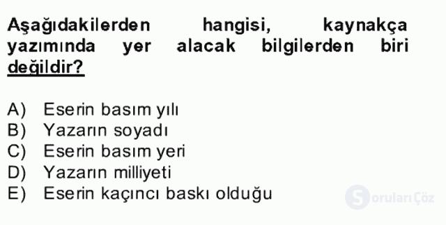 Türk Dili II Bütünleme 17. Soru
