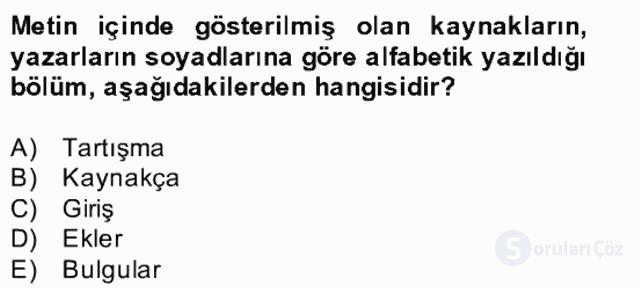 Türk Dili II Bütünleme 18. Soru