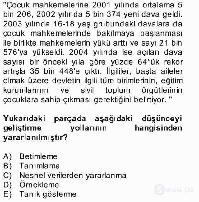 Türk Dili II Bütünleme 8. Soru