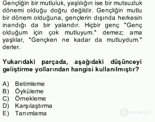 Türk Dili II Bütünleme 9. Soru