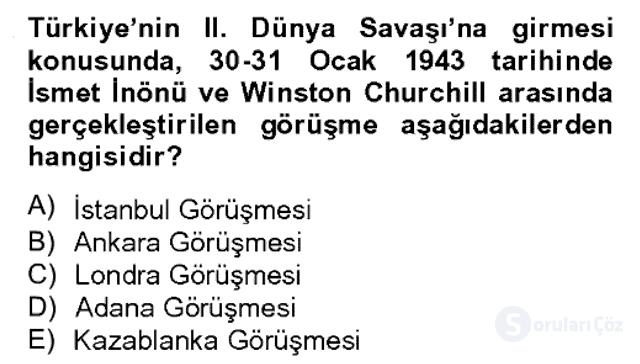 Atatürk İlkeleri ve İnkılap Tarihi II Bahar Dönemi Final 10. Soru