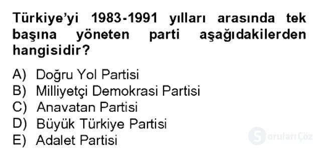 Atatürk İlkeleri ve İnkılap Tarihi II Bahar Dönemi Final 13. Soru