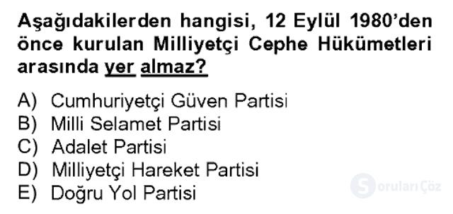 Atatürk İlkeleri ve İnkılap Tarihi II Bahar Dönemi Final 14. Soru
