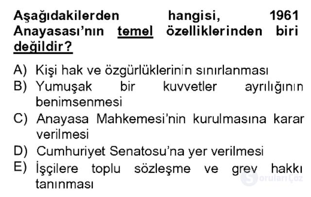 Atatürk İlkeleri ve İnkılap Tarihi II Bahar Dönemi Final 17. Soru