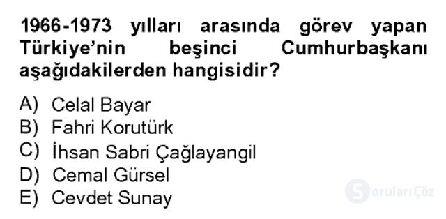 Atatürk İlkeleri ve İnkılap Tarihi II Bahar Dönemi Final 19. Soru