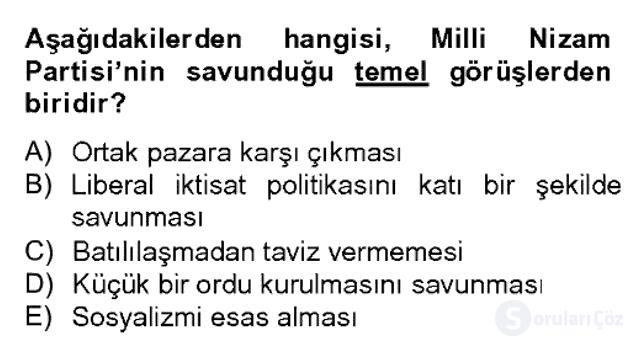 Atatürk İlkeleri ve İnkılap Tarihi II Bahar Dönemi Final 20. Soru