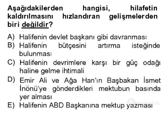 Atatürk İlkeleri ve İnkılap Tarihi II Bahar Dönemi Final 3. Soru