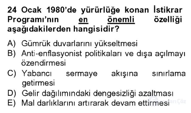 Atatürk İlkeleri ve İnkılap Tarihi II Bahar Dönemi Final 6. Soru