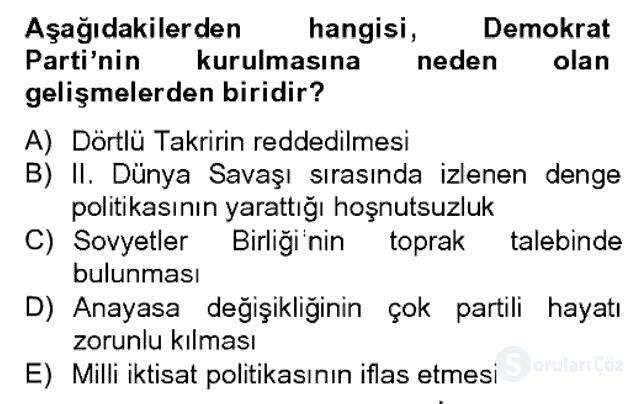 Atatürk İlkeleri ve İnkılap Tarihi II Bahar Dönemi Final 7. Soru