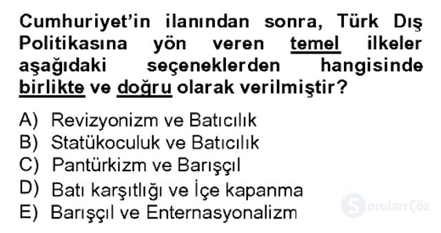 Atatürk İlkeleri ve İnkılap Tarihi II Bahar Dönemi Final 9. Soru