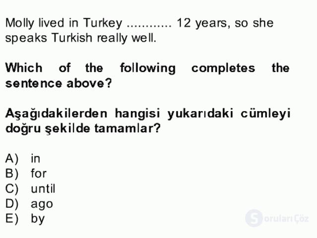 İngilizce II Bütünleme 11. Soru