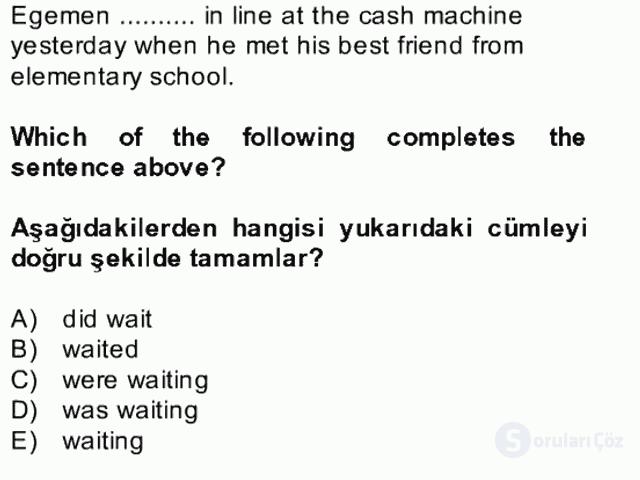 İngilizce II Bütünleme 19. Soru