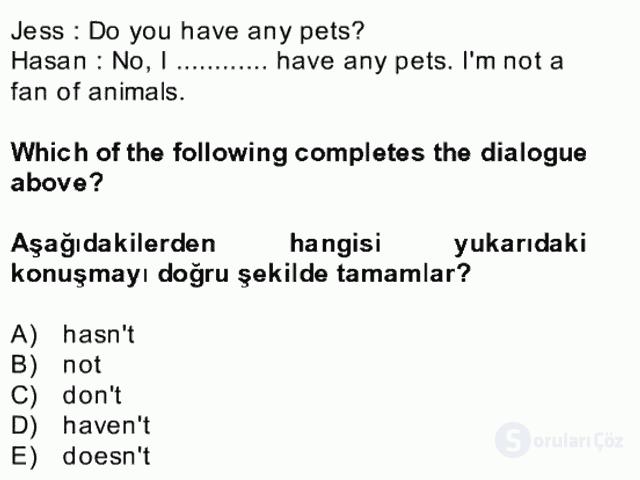 İngilizce II Bütünleme 2. Soru
