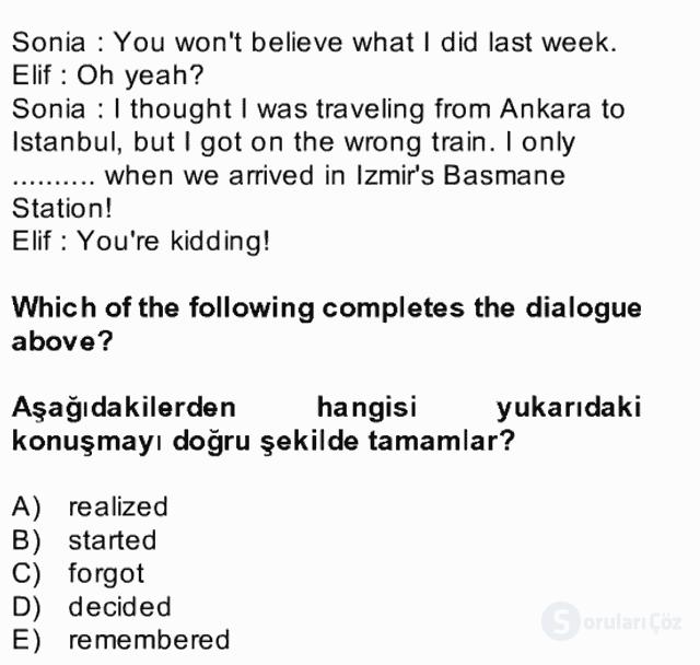 İngilizce II Bütünleme 21. Soru