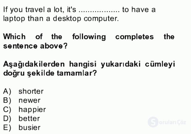 İngilizce II Bütünleme 22. Soru