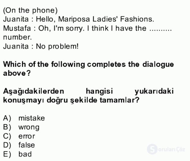 İngilizce II Bütünleme 23. Soru