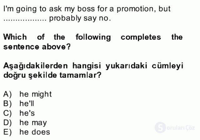 İngilizce II Bütünleme 28. Soru