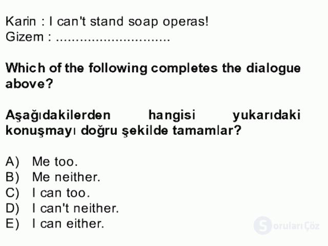 İngilizce II Bütünleme 3. Soru