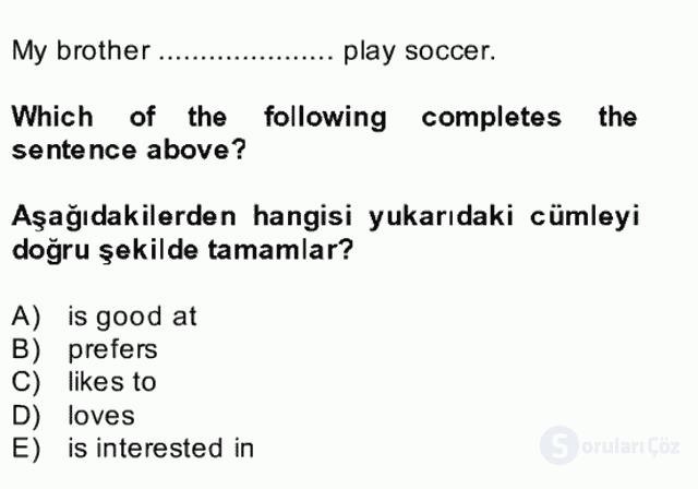 İngilizce II Bütünleme 4. Soru