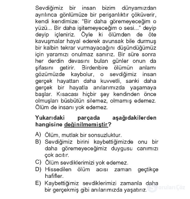 Türk Dili II Bahar Dönemi Final 1. Soru
