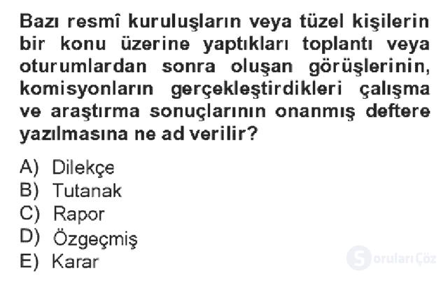 Türk Dili II Bahar Dönemi Final 11. Soru